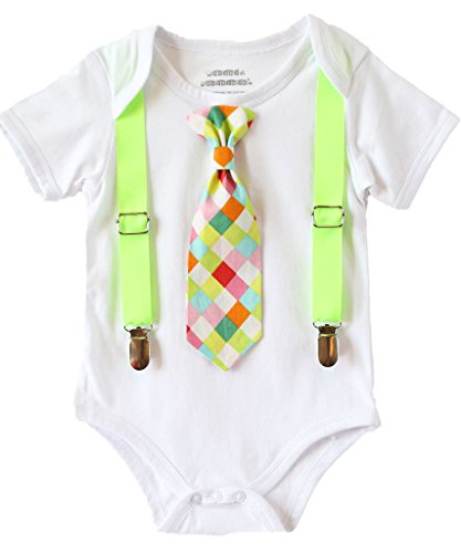 Noah's Boytique Baby Boy Clothes With Tie Neon Green Suspenders and Colorful Tie Newborn