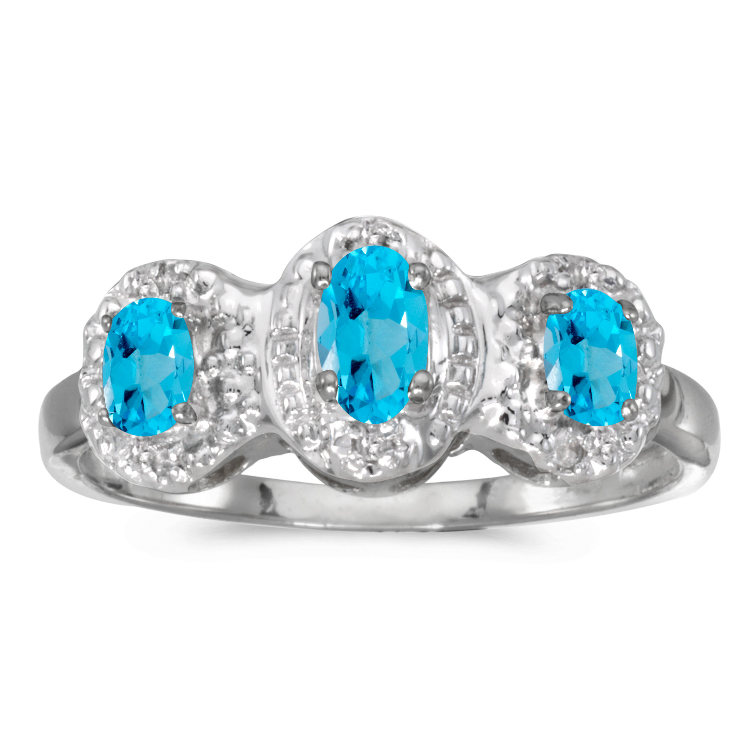 10k White Gold Oval Blue Topaz And Diamond Three Stone Ring by