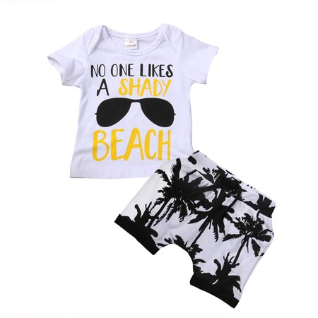 - 2pcs Toddler Infant Kids Baby Boy T-shirt Tops+Shorts Summer Outfits Clothes Set