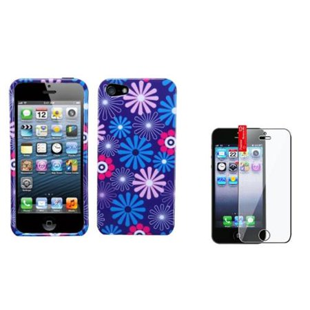 Insten Flower Fireworks Painted Various Pattern Hard Case+Guard for iPhone 5 5S ()