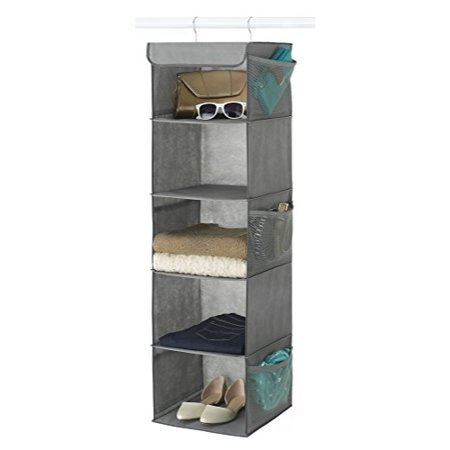 Zober 5-Shelf Hanging Closet Organizer 12 x 11 ½ x 42 Inches, 6 Side Mesh Pockets And 2 Sturdy Hooks, For Clothes Storage, And Shoes, Etc. - Grey - Optimizers Six Pocket Organizer