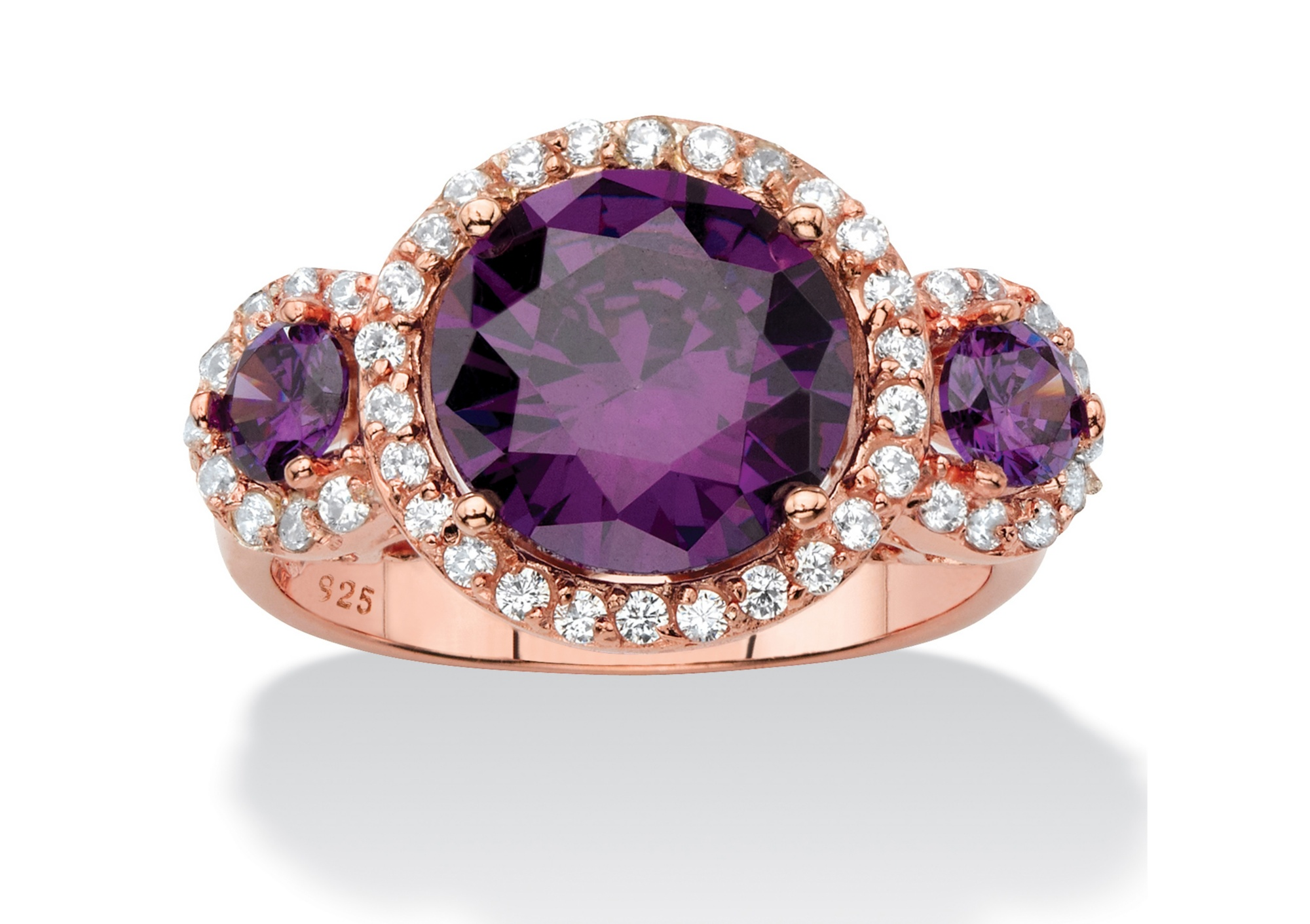 4.89 TCW Amethyst Purple Cubic Zirconia 3-Stone Halo Cocktail Ring in Rose Gold over Sterling Silver by PalmBeach Jewelry