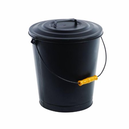 Pleasant Hearth 614 Portable Fireplace Ash Disposal Can with Lid and Heat Resistant Base Black ()