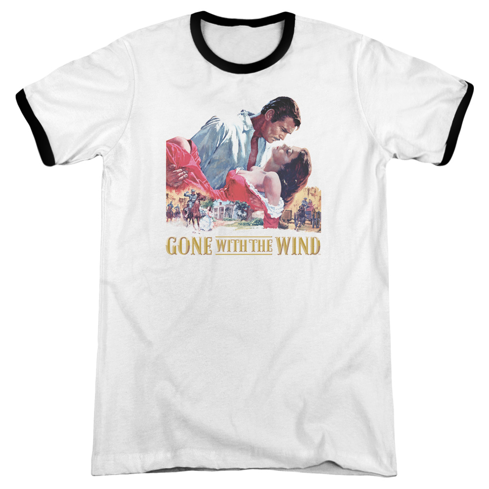Gone with the Wind On Fire Mens Adult Heather Ringer Shirt