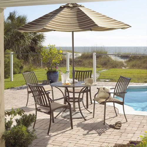 Hospitality Rattan PJO-1001-ESP-5PC Panama Jack 5-Piece Island Breeze Slatted Outdoor Dining Set