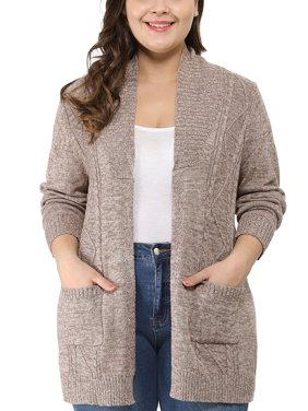 Women's Plus Size Two Pockets Open Front Sweater Cardigan