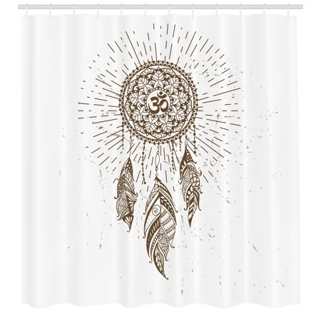 Yoga Shower Curtain Hand Drawn Style Dreamcatcher With Mandala Ancient Spiritual Symbol Hippie Art