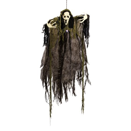 Halloween Haunters Hanging Grey Open Mouth Ghost - Prop Decoration