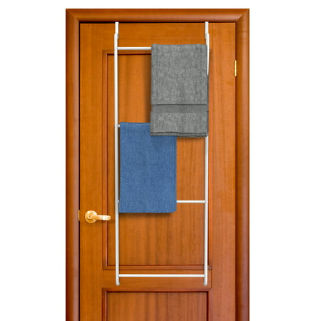 Over Shower Door Towel Rack (Over the Door Towel Rack-Bathroom or Shower Door 4 Bar Hanging Holder for Towels, Washcloths or Clothes-Space Saving Storage Accessory by Lavish Home )
