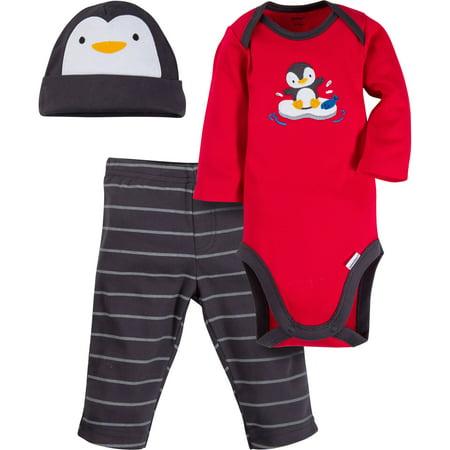 Gerber Newborn Baby Boy Long Sleeve Onesies Bodysuit  Pant   Cap  3Pc Set