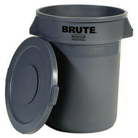 rubbermaid brute 32 gallon trash can with lid grey walmartcom - Rubbermaid Trash Cans