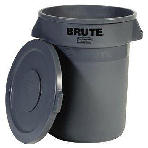Rubbermaid Brute 32-Gallon Trash Can with Lid, Grey