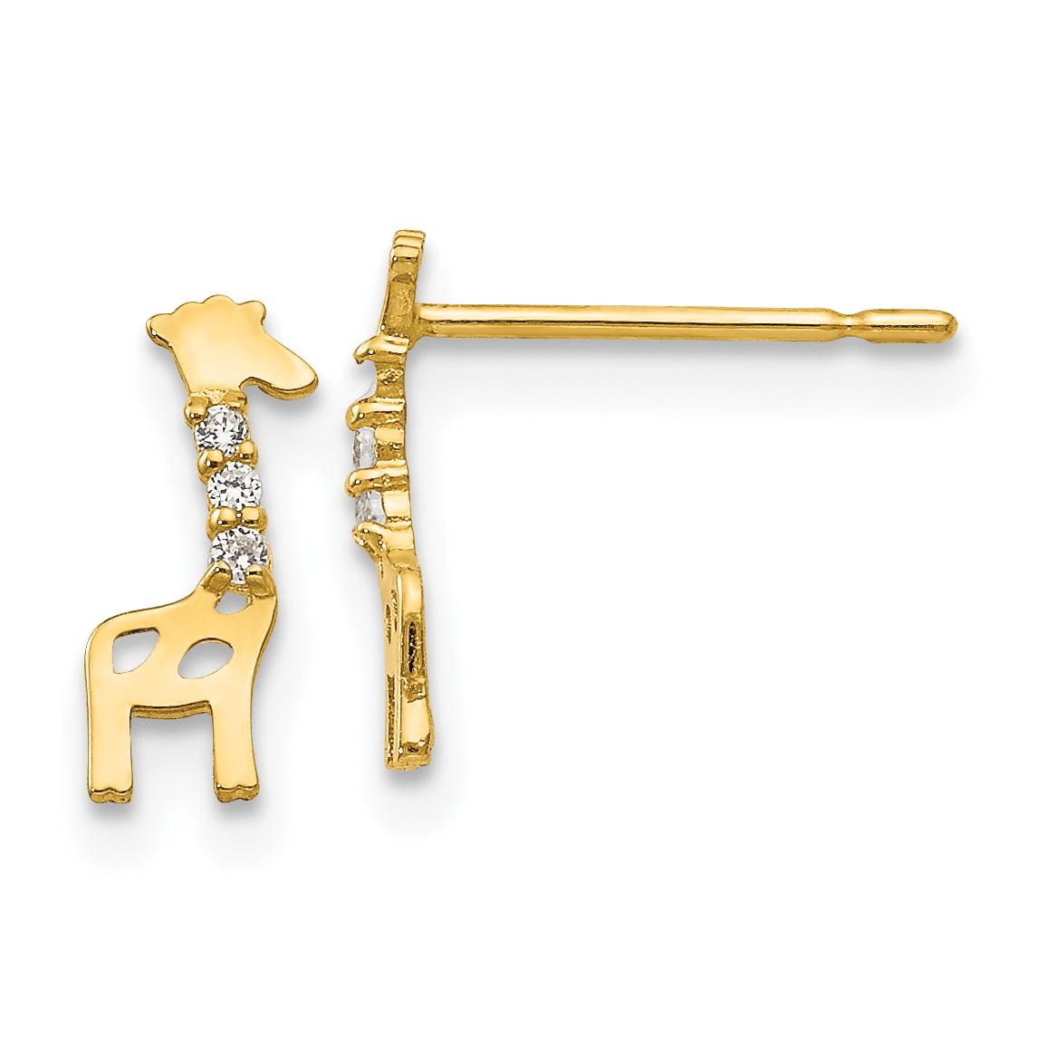14k Madi K CZ Children's Giraffe Post Earrings GK821 - image 2 de 2