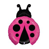 Pink Ladybug Shape Holographic 27' Foil Balloon Birthday Party Baby Shower