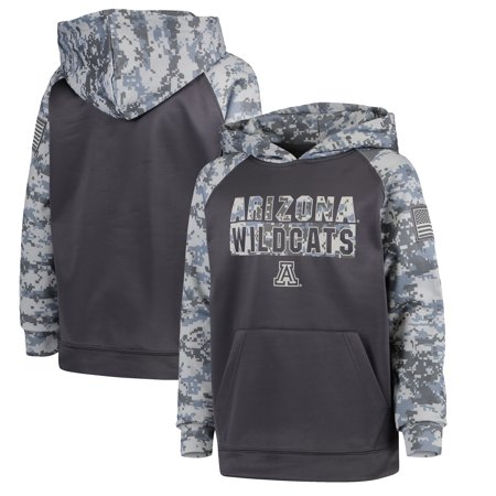 Arizona Wildcats Colosseum Youth OHT Military Appreciation Digi Camo Raglan Pullover Hoodie - Charcoal thumbnail