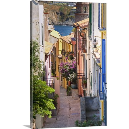 Great BIG Canvas | Per Karlsson Premium Thick-Wrap Canvas entitled A Narrow Street In The Old Town, Collioure, Roussillon,