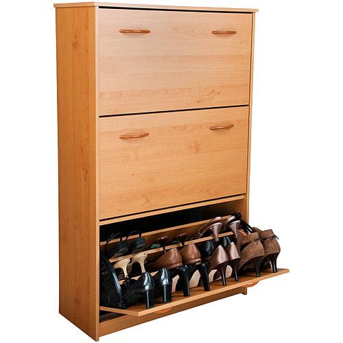 Shoe Cabinet, Triple, Oak - Walmart.com
