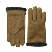 Isotoner Smart Touch Mens Brown Faux Suede Thermaflex Text Gloves Smartouch