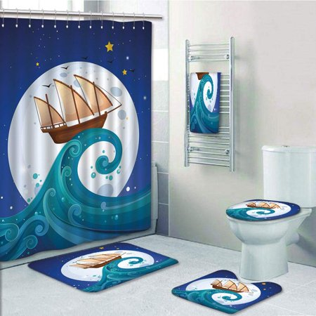 EREHome Moon Old Ship with Tempest Riding the Waves Full Moon Stars Marine Cartoon 5 Piece Bathroom Set Shower Curtain Bath Towel Bath Rug Contour Mat and Toilet Lid Cover - image 1 of 2