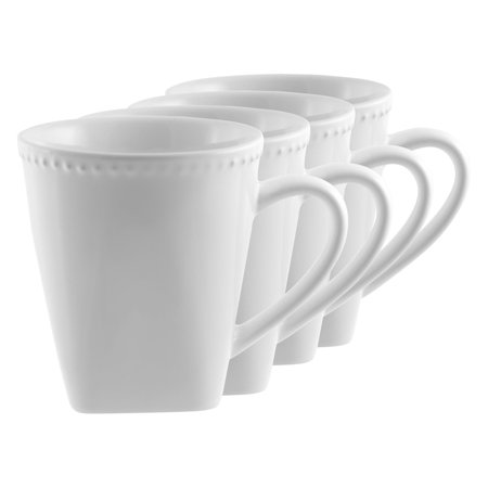 10 Strawberry Street White Beaded Mug Set of 4 - 12 oz.