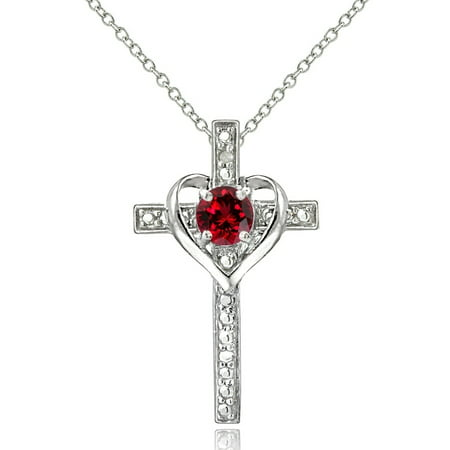 Nike Heart Cross (Sterling Silver Created Ruby & Diamond Accent Cross Heart Necklace )