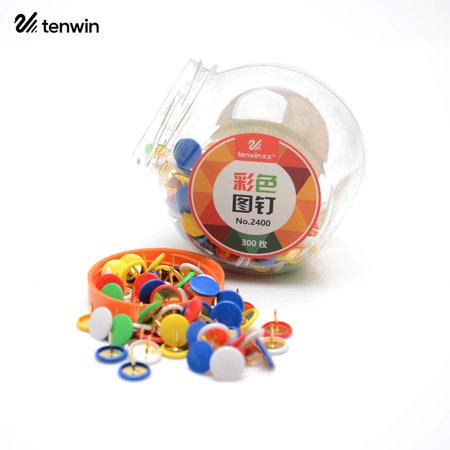 tenwin Color Thumb Tacks Push Pins Round Head Drawing Pins for Home Shcool Office Cork Boards Maps Photo Wall, 300 Pieces