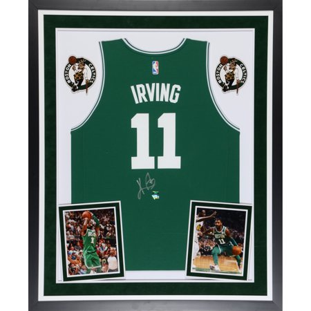 online store cd67f fd80a Kyrie Irving Boston Celtics Deluxe Framed Autographed Fanatics FastBreak  Green Jersey - Panini Authentic - No Size