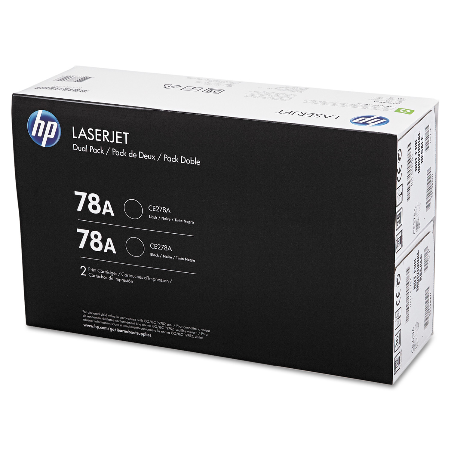 HP 78A, (CE278D) 2-pack Black Original LaserJet Toner Cartridges -HEWCE278D