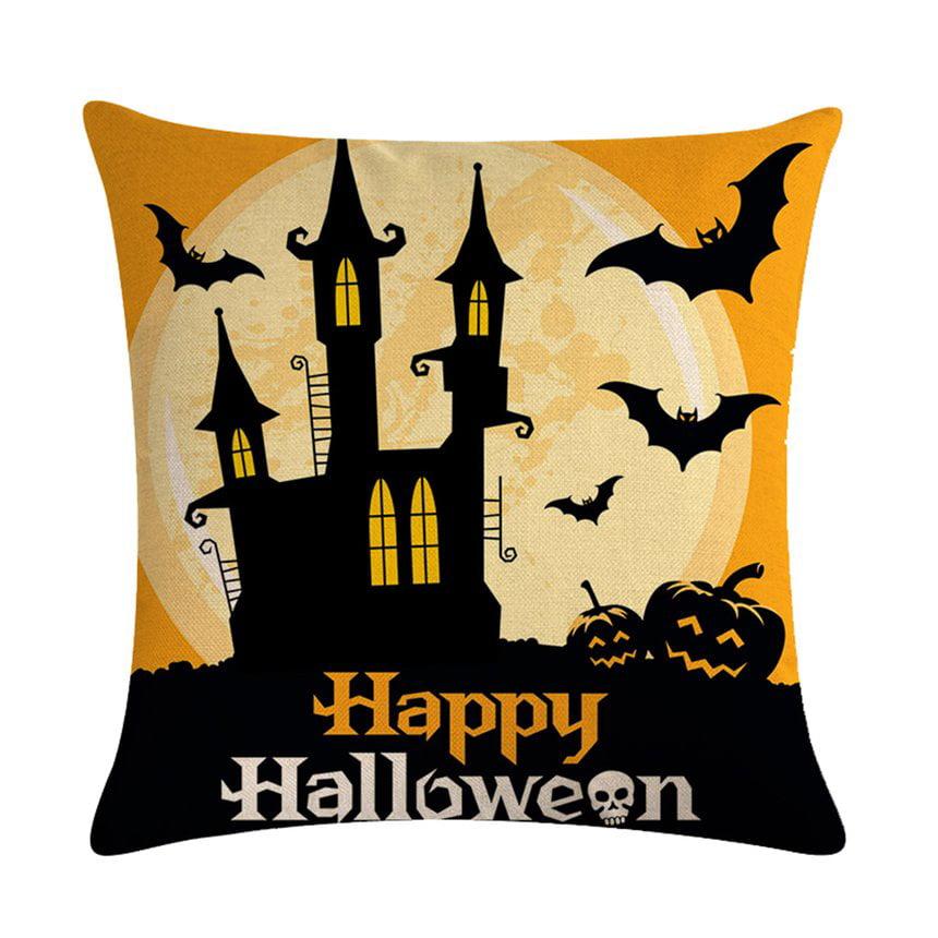 Halloween Castle Bat Pumpkin Series Pillow Covers Cotton Linen Bed Home Pillow Case Smooth Pillowcase for Home Office