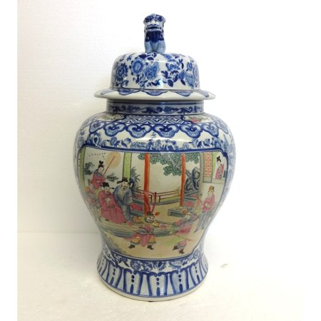 Blue & White w/ Famille Porcelain Temple Jar Famille Rose Porcelain Vase