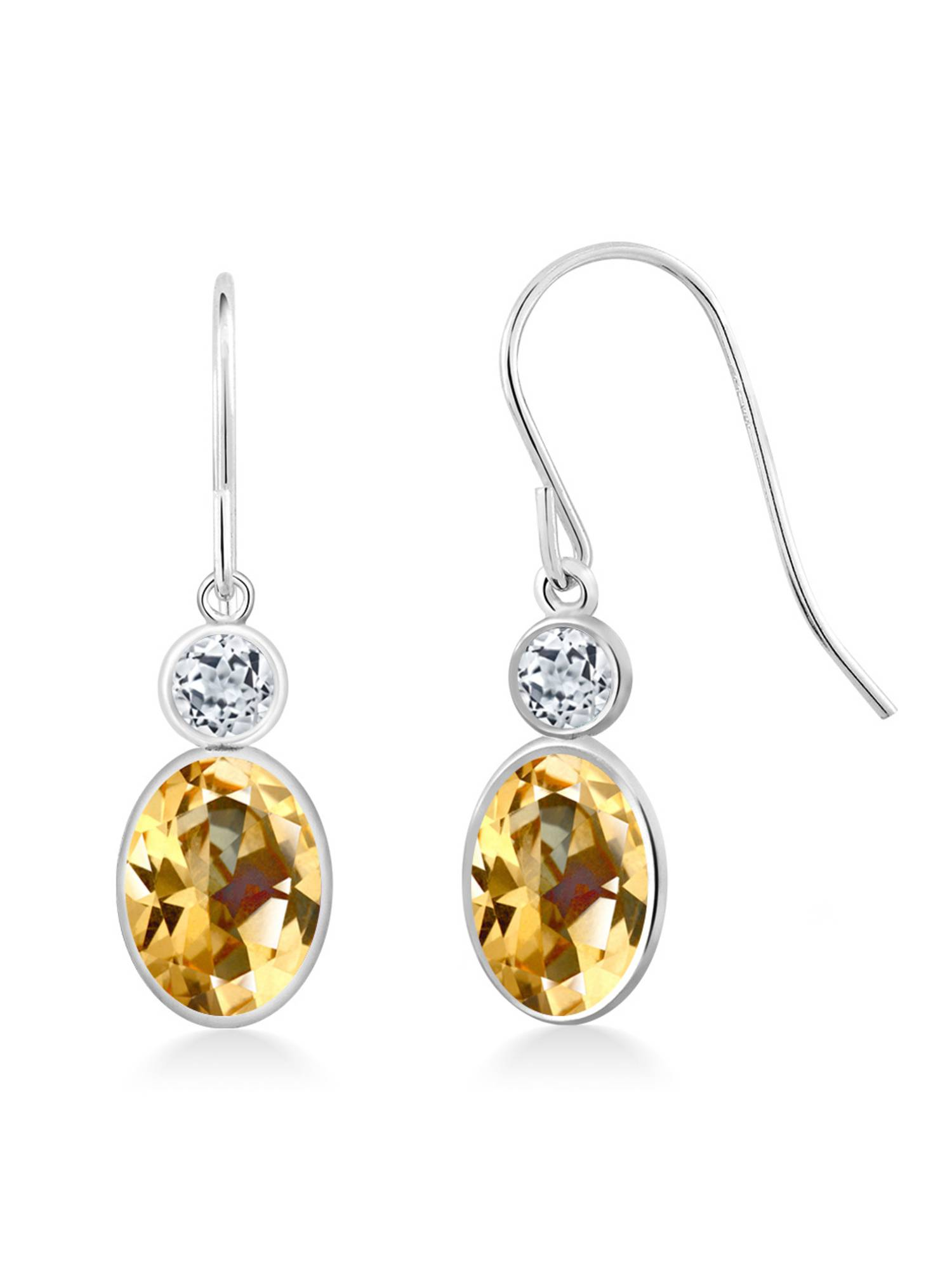 14K White Gold Earrings Topaz Set with Oval Honey Topaz from Swarovski by