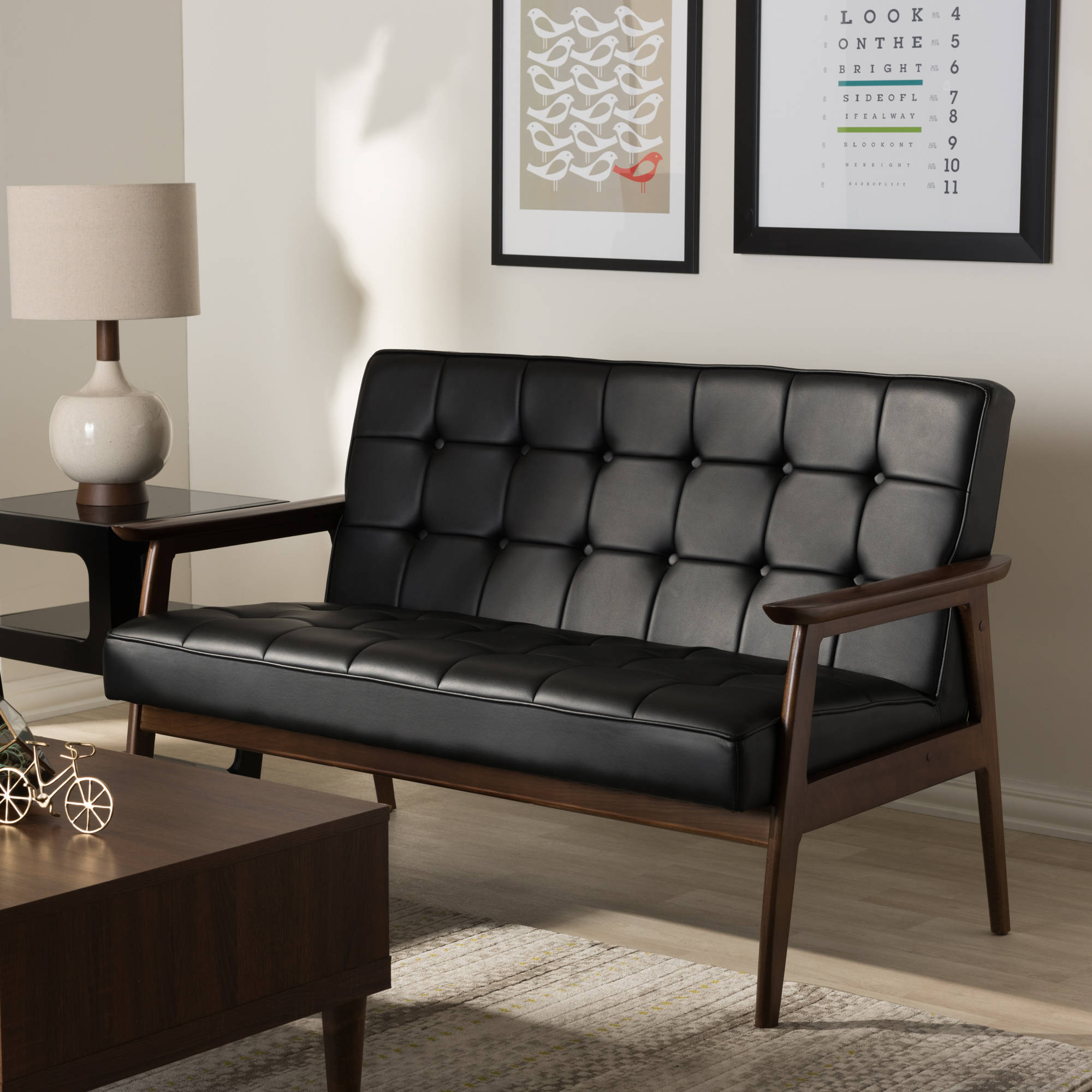 Pleasant Stratham Black Mid Century Modern Sofa Ibusinesslaw Wood Chair Design Ideas Ibusinesslaworg