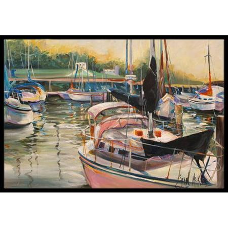 Caroline's Treasures Black Sails Sailboat Doormat