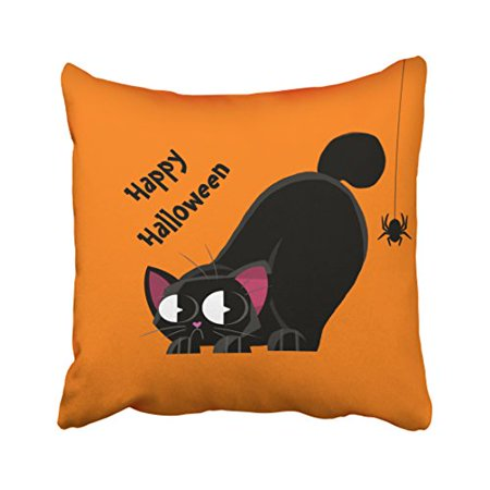 WinHome Cute Happy Halloween Cartoon Black Cat And Spider Orange Polyester 18 x 18 Inch Square Throw Pillow Covers With Hidden Zipper Home Sofa Cushion Decorative Pillowcases - Happy Halloween Cartoon