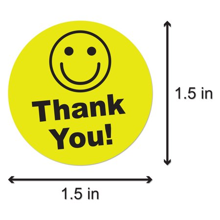 Round Thank You Stickers with Happy Face (1.5 inch, 300 Stickers per Roll, Yellow) for Shipping & - Custom Roll Stickers