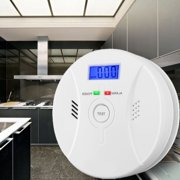 Arzil 2 In 1 Carbon Monoxide&Smoke Alarm Smoke Fire Sensor Alarm CO Carbon Monoxide Detector Sound Combo Sensor Tester Battery Operated with Digital Display