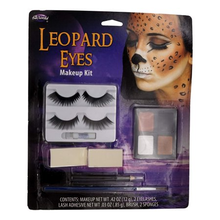 Leopard Eyes Complete Makeup Kit (Eye Shadow, Eyelashes, Lash Adhesive, Brush, Sponges) Theater, Halloween