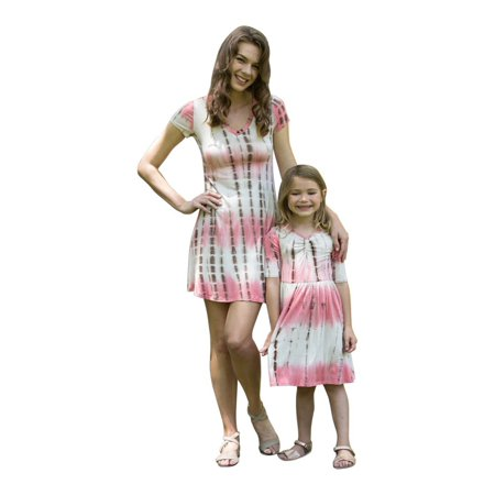 Little Girls Mauve Short Sleeves Tie-Dye Summer Dresses
