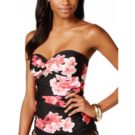 CALVIN KLEIN Womens Floral Print Bandeau Tankini Top Black and Red Size Large L