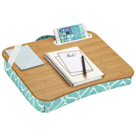 LapGear Designer Lap Desk with Phone Holder and Device Ledge - Aqua Trellis Old School Lap Desk