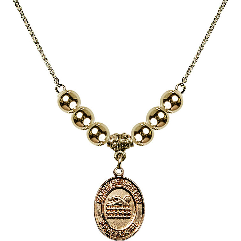 18-Inch Hamilton Gold Plated Necklace with 6mm Gold Filled Beads and Saint Sebastian Swimming Charm by