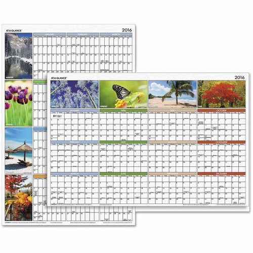 "At-A-Glance ""Seasons in Bloom"" Vertical/Horizontal Erasable Wall Planner, 24 x 36, 2017 - AAGPA133"