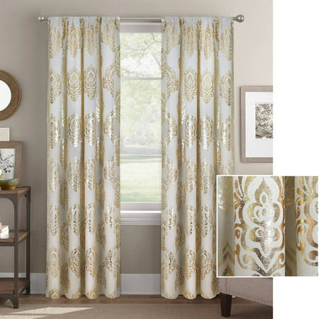 Better Homes And Gardens Metallic Damask Foil Window Panel