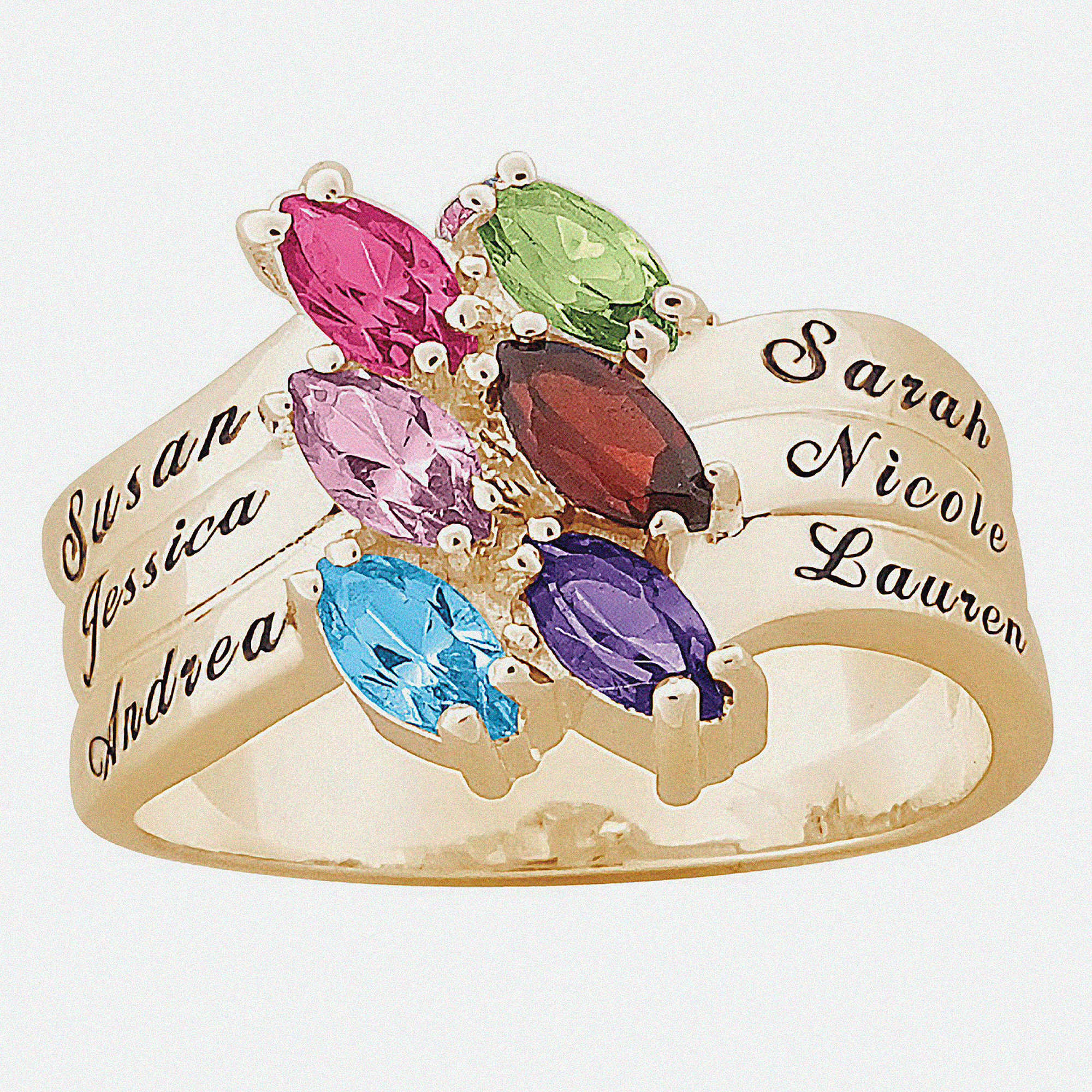 Personalized 10kt Yellow Gold Family Marquise Birthstone Ring