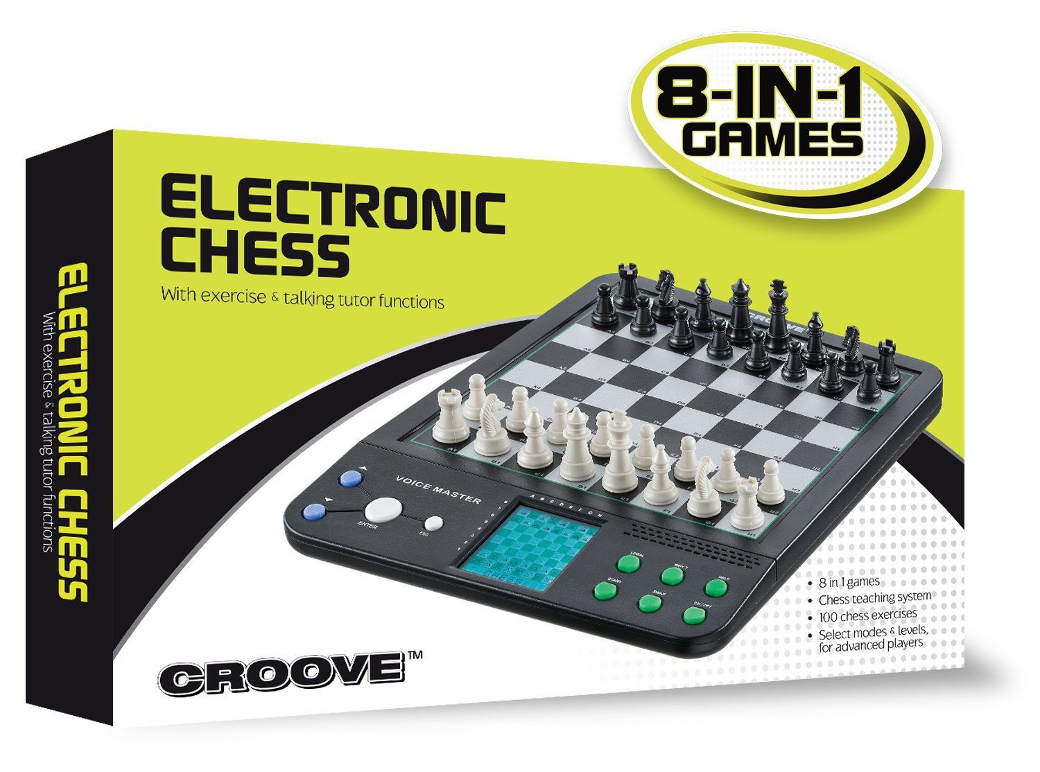 Croove Electronic Chess and Checkers Set with 8-In-1 Board Games, For Kids To Learn and Play by