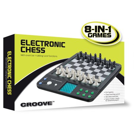 Croove Electronic Chess and Checkers Set with 8-In-1 Board Games, For Kids To Learn and Play - Children Learning Games