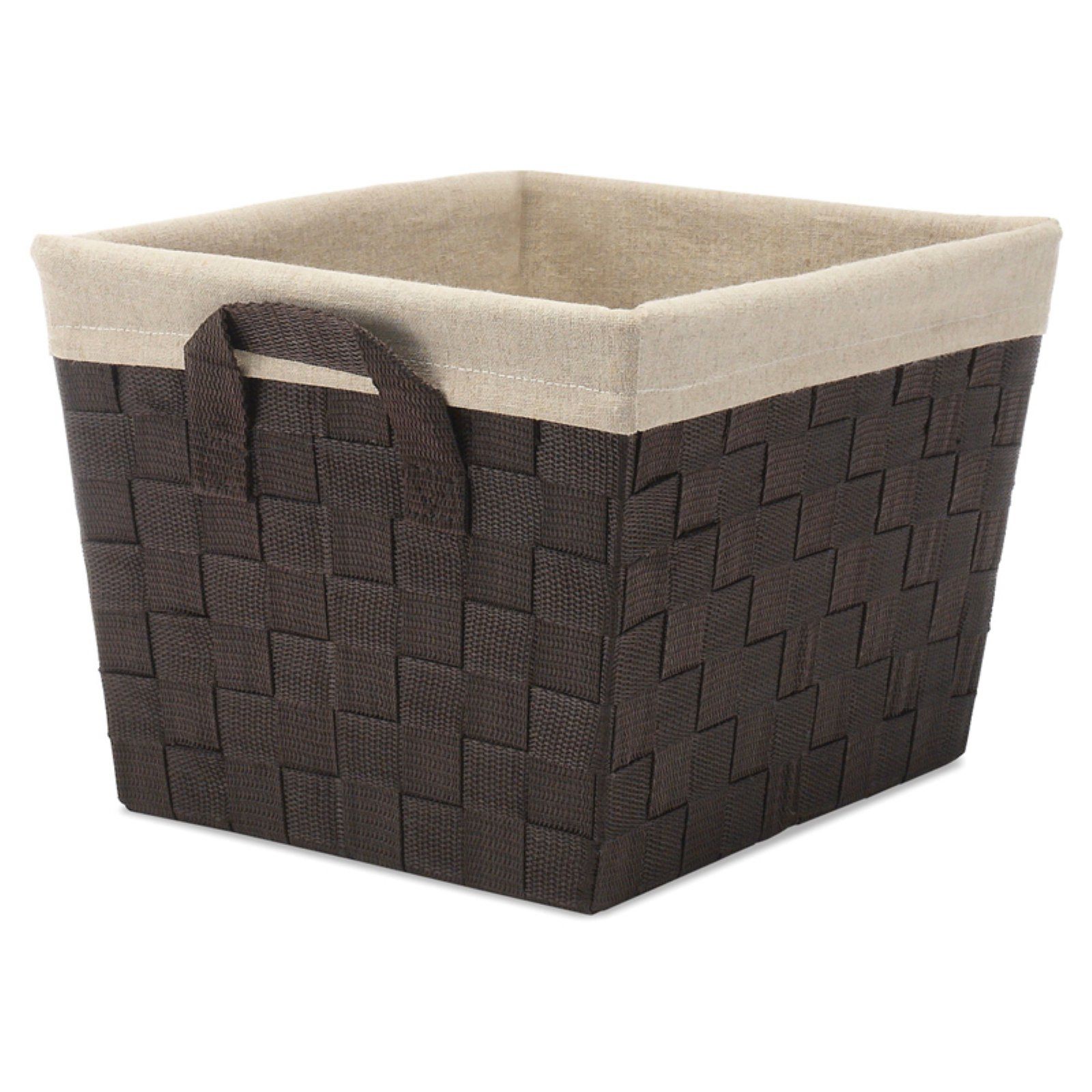 "Whitmor 6581-3903-ESPR 12.25"" x 7.75"" x 10.13"" Espresso Woven Strip Tote with Liner"