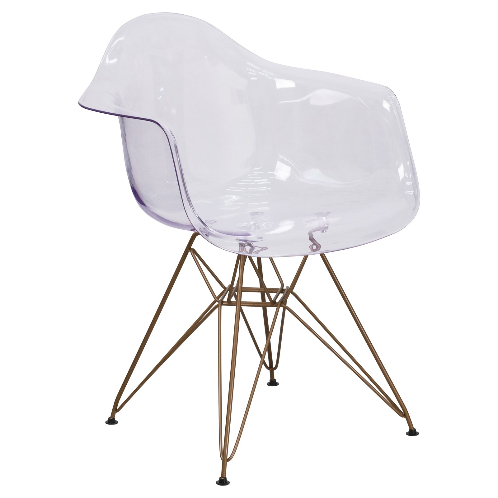 Flash Furniture Allure Series Transparent Side Chair with Gold Frame