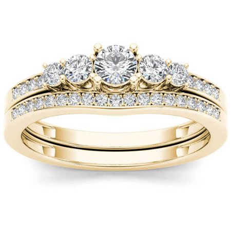 - Imperial Diamond 1/2 Carat T.W. Diamond Classic 14kt Yellow Gold Engagement Ring Set