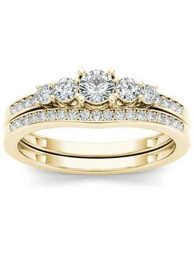 1/2 Carat T.W. Diamond Classic 14kt Yellow Gold Engagement Ring Set